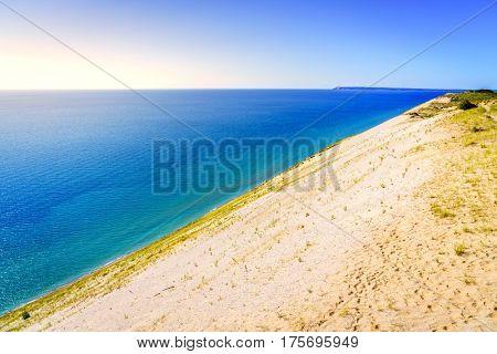 Scenic view of Lake Michigan from Sleeping Bear Dunes National Lakeshore