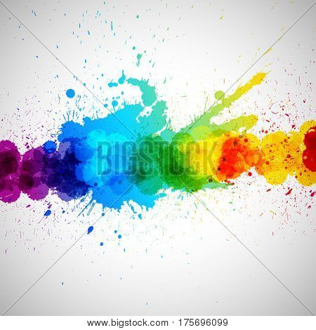 Holi background, abstract colorful splash paint blots. Bright spots and blobs for holiday design poster, card, banner, etc.