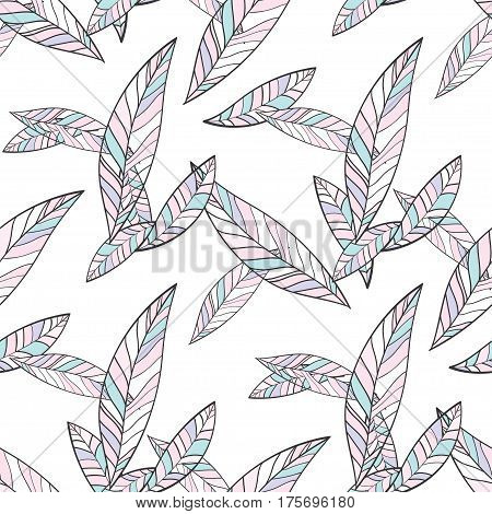 Seamless Trendy Pattern design with doodle spring leafs. design of wallpaper, fabric, card, packaging and decorative textile. For womens day, Easter, birthday and other holidays