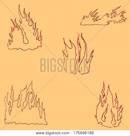 Fire. Sketch by hand. Pencil drawing by hand. Vector image. The image is thin lines. Vintage image