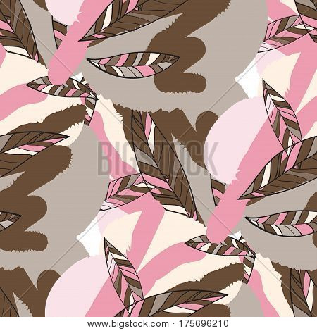 Seamless Trendy Pattern design with doodle spring leafs. design of wallpaper, fabric, card, packaging and decorative textile. Concept for womens day, Easter, birthday and other holidays
