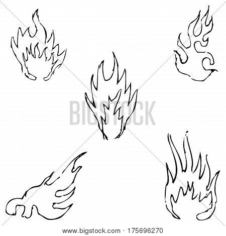 Flame tongues. Sketch by hand. Pencil drawing by hand. Vector image. The image is thin lines.