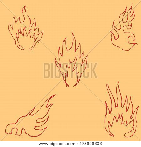 Flame tongues. Sketch by hand. Pencil drawing by hand. Vector image. The image is thin lines. Vintage colors
