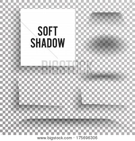 Transparent Soft Shadow Vector. Set Element With Soft Edges Isolated On Checkered Background. Smooth Under Round Square.