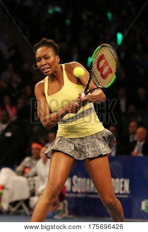 NEW YORK - MARCH 6, 2017: Grand Slam Champion Venus Williams of United States in action during  BNP Paribas Showdown 10th Anniversary tennis event at Madison Square Garden in New York