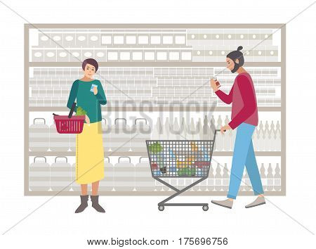 People with shopping cart choose products near the rack. Concept for supermarket or shop. Shoppers girl and guy with food, purchases. Colorful flat vector illustration.