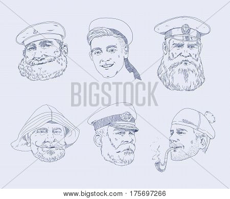 The sailor, fisherman, captain hand drawn illustration. Set of portraits different sailors.