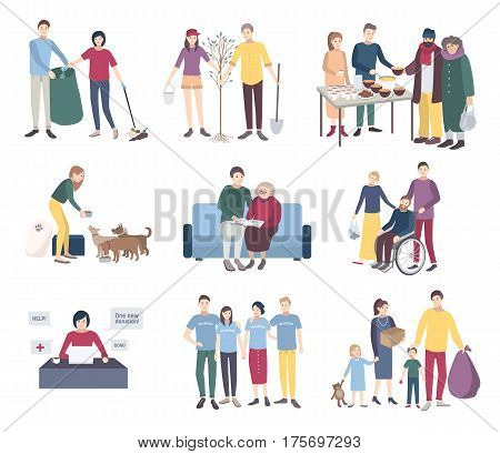 Flat vector illustration collection. Help the homeless, scavengery, helping to disabled and elderly people, animals, tree planting. Young volunteers set. Volunteering concept.