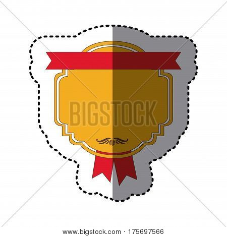 color sticker with heraldic rounded square with ribbon in both sides vector illustration