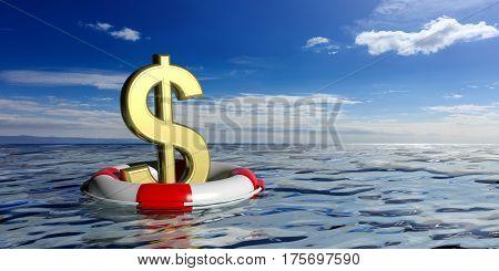 Life Buoy And A Dollar Symbol On Blue Sea Background. 3D Illustration