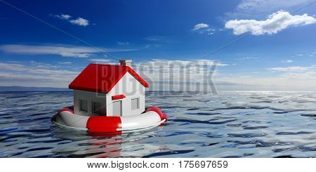 Life Buoy And A Small House On Blue Sea Background. 3D Illustration