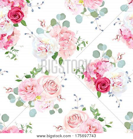 Small wedding bouquets of red and pink rose, white peony, camellia, hydrangea, blue berries and eucalyptus leaves pattern. Seamless vector print on white background.