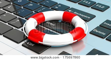 Life Buoy On A Laptop. 3D Illustration