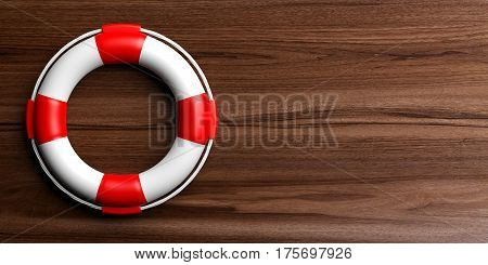 Life Buoy On Wooden Background. 3D Illustration