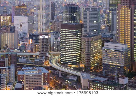 Umeda city business downtown building aerial view cityscape downtown background