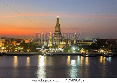 Beauty sunset sky Arun temple over Bagnkok central river Thailand landmark