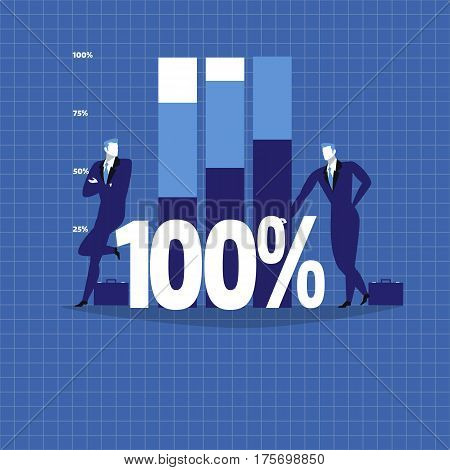 Vector illustration of two businessmen next to growing diagram. One hundred percent sign, flat style design.
