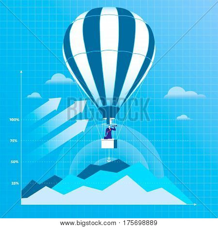 Vector illustration of businessman flying on hot air balloon and looking through spyglass or hand-held telescope. Business vision concept flat style design.