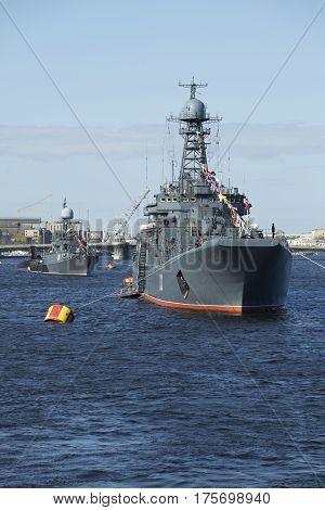 SAINT PETERSBURG, RUSSIA - MAY 09, 2015: Large landing ship