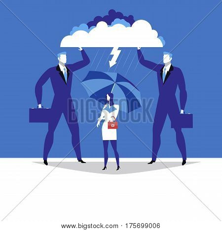 Vector illustration of two businessmen protecting their supervisor female from thunder and lightning. My supervisor concept flat style design.