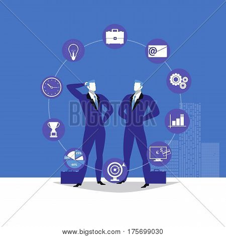 Vector illustration of two businessmen talking to each other and business flat icons, infographic items around them.