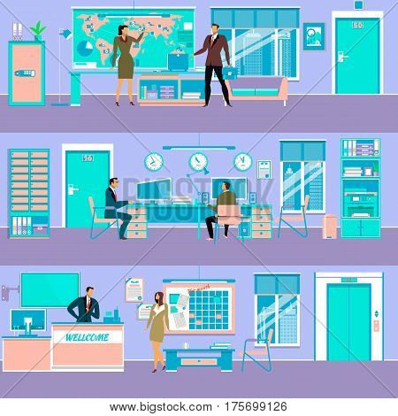 Vector set of modern workspace interiors with office furniture and equipment. Office rooms, reception desk and business people workplaces, flat style illustration.