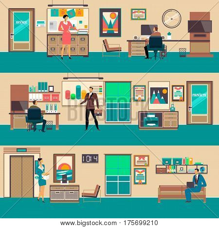Vector set of modern workspace interiors with office furniture and equipment. Business people in office, in private office, in waiting hall, flat style illustration.