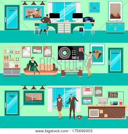Vector set of modern workspace interiors with office furniture and office equipment. Business people in office, in meeting room and in boardroom, flat style illustration.