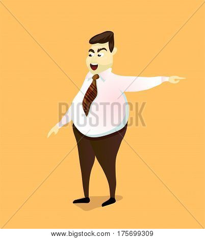The evil boss points to the door. Dismissal. Cartoon characters, vector illustration.