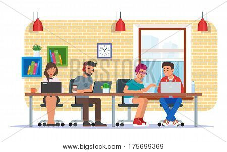 Coworking center, teamwork concept vector illustration in flat style. Coworkers, colleagues characters making use of laptops and headphones.