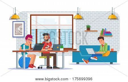 Coworking center concept vector illustration. Workspace, young people making use of laptops and headphones. Flat style design elements.
