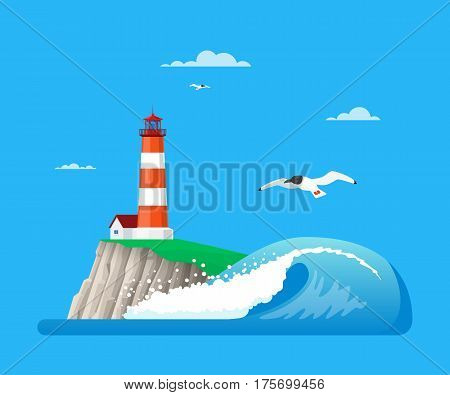 Vector illustration of lighthouse on island rock, ocean wave and seagulls. Seascape flat style design elements.