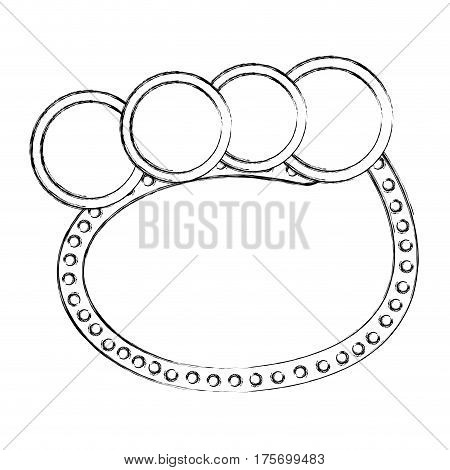 monochrome sketch of oval speech with four circles in top side vector illustration