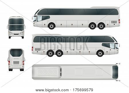 White bus template. Tourist coach isolated on white. All elements in the groups have names the view sides are on separate layers. There is the ability to easily editing.
