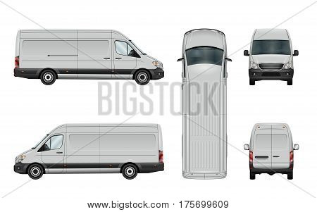 White van template. Vector commercial vehicle isolated on white background. All the elements in the groups have names the view sides are on separate layers. There is the ability to easily editing.