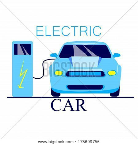 Electric cars. The car runs on electricity, the battery is charging. Caring for the environment okrozhayuschey. flat style, vector illustration
