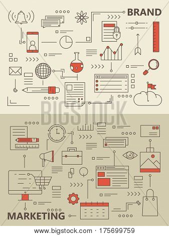 Vector set of Brand and Marketing concept banners. Modern thin line flat design elements, icons for web, marketing, presentation and printing.