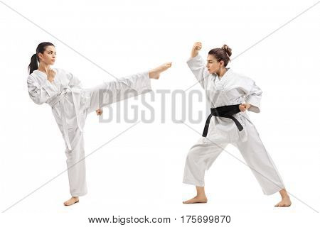 Full length profile shot of two young women in kimonos practicing martial arts isolated on white background