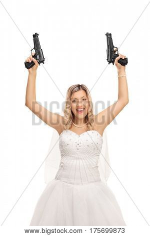 Excited young bride holding two guns isolated on white background