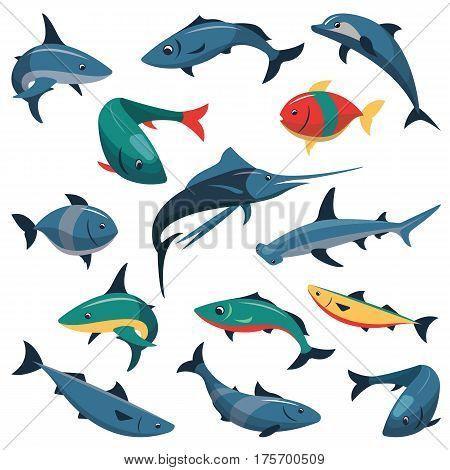 Vector set of bright color fish icons isolated on white background. Flat style design elements.