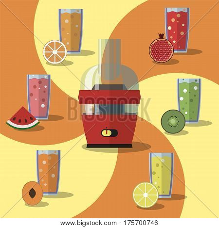 Vector illustration of electric juicer and glass of orange, watermelon, kiwi, peach, lemon, garnet juice with slices of fruits. Flat style design.