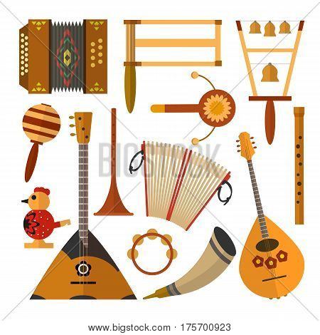 Vector set of Russian folk music instruments. Flat style design elements, icons isolated on white background.