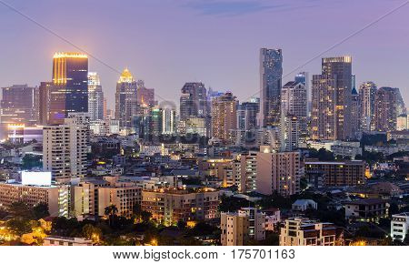 Bangkok city business downtown light night view cityscape downtown background Thailand