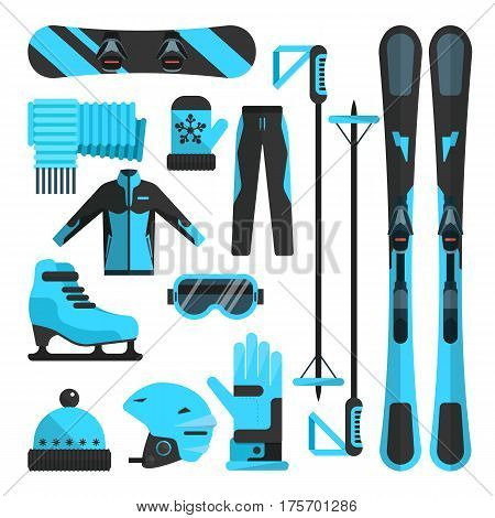 Vector set of winter sports flat icons. Skiing, skating and snowboarding outfit and ski resort equipment design elements isolated on white background.