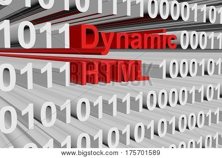 dynamic html in the form of binary code, 3D illustration