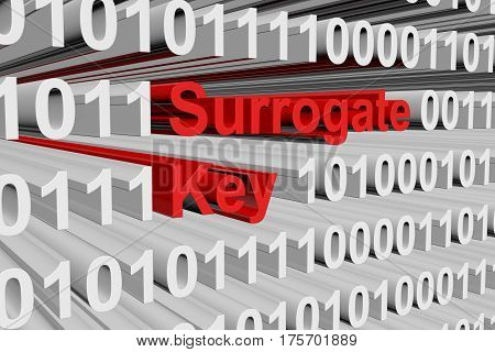 surrogate key in the form of binary code, 3D illustration
