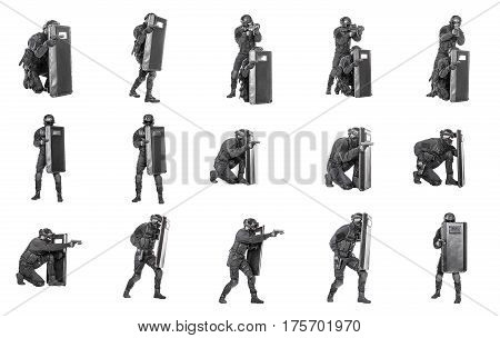 Set of SWAT operators in black uniforms and bulletproof vest with ballistic riot shield images. Defense and protection of law enforcement officers