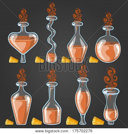 Big set with different magic elixir. Game design illustration