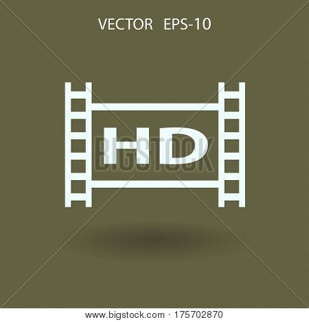 Flat icon of hd video. vector illustration