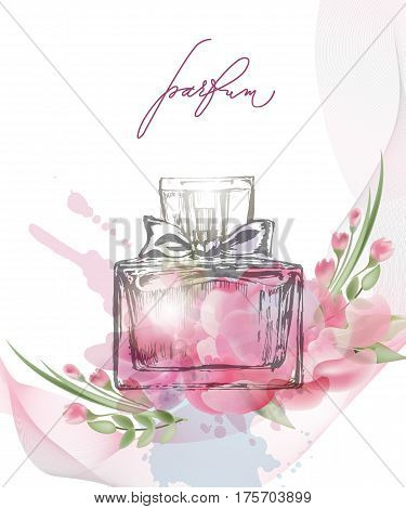 Beautiful perfume bottle with blooming beautiful pink flowers . Beautiful and fashion background. Template Vector.